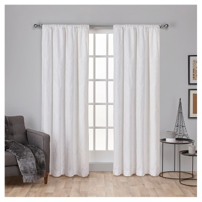 Elena Wave Chenille Rod Pocket Window Curtain Panel Pair White (52 x84 )- Exclusive Home™