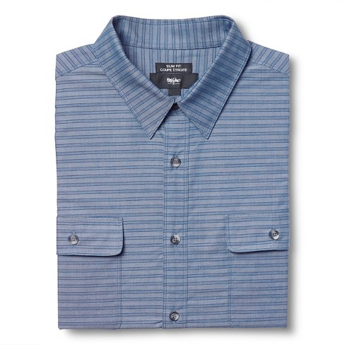 Men's L Slim Fit Stripe Dress Shirt Navy - Mossimo™ - image 1 of 3
