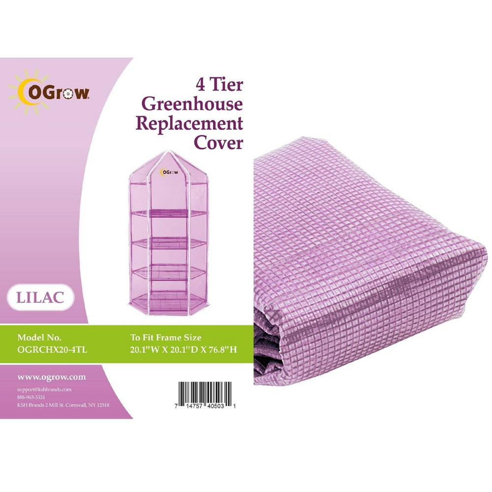 Image of 4 Tier Hexagonal Greenhouse Replacement Cover Lilac - OGrow