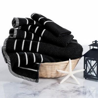 6pc Chevron Bath Towels Sets Black - Yorkshire Home