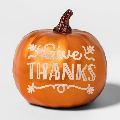 """Metallic """"Give Thanks"""" Painted Harvest Pumpkin Small - Spritz™ - image 1 of 1"""