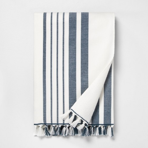 Stripe Beach Towel Navy / Sour Cream - Hearth & Hand™ with Magnolia - image 1 of 3