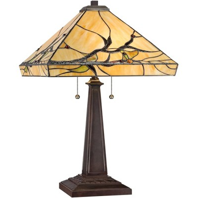 Robert Louis Tiffany Mission Style Table Lamp with Table Top Dimmer Bronze Metal Art Glass Square for Living Room Bedroom House