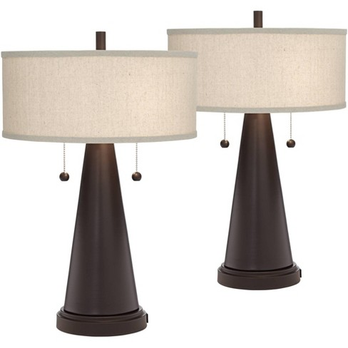 Franklin Iron Works Mid Century Modern Accent Table Lamps Set of 2 with Hotel Style USB Port Bronze Metal Natural Linen Drum Shade for Bedroom - image 1 of 4