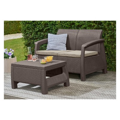 Bahamas Outdoor Resin Patio Loveseat With Cushions   Keter : Target