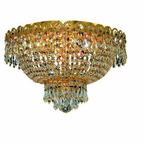 Elegant Lighting 1900F16G Century 4-Light, Single-Tier Flush Mount Crystal Chandelier, Finished in Gold - image 1 of 1