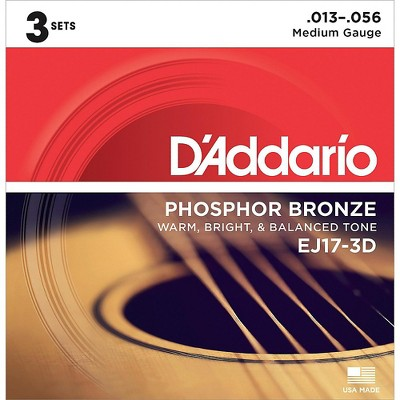 D'Addario EJ17 Phosphor Bronze Medium Acoustic Strings (3-Pack)