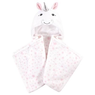 Hudson Baby Unisex Baby and Toddler Hooded Animal Face Plush Blanket - White Unicorn One Size
