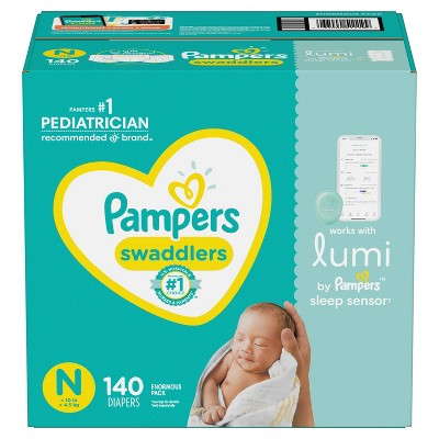 Pampers Lumi Swaddlers Enormous Pack Diapers - Size Newborn - 140ct