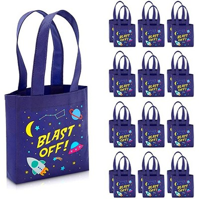 """Blue Panda 24-Pack Outer Space """"Blast Off"""" Party Favors Tote Bags, Small Gift Bags (6.5 x 7 x 1.77 In)"""