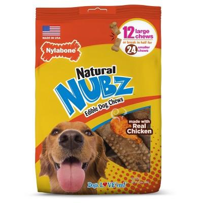 Nylabone Natural Medium Nubz Chicken Flavored Dental Treats Dog Treats - 12ct