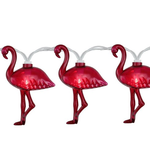 Northlight Set of 10 Pink Flamingo Summer Garden Patio Lights - White Wire - image 1 of 2