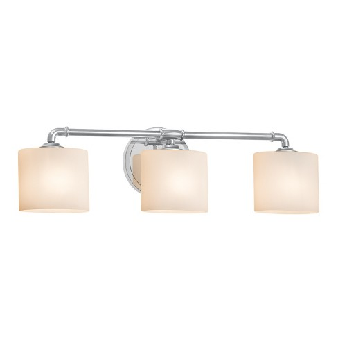 Justice Design Group Fsn 8463 30 Opal Fusion 3 Light 26 Wide Bathroom Vanity With Oval Gl Shades Brushed Nickel