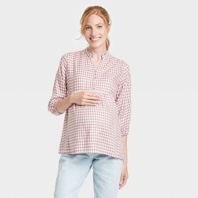 3/4 Sleeve Button-Front Ruffle Detail Woven Maternity Blouse - Isabel Maternity by Ingrid & Isabel™ Plaid
