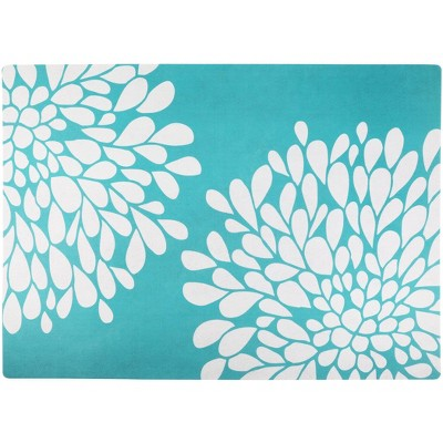 Drymate Cat Litter Trapping Mat - Floral Turquoise & White