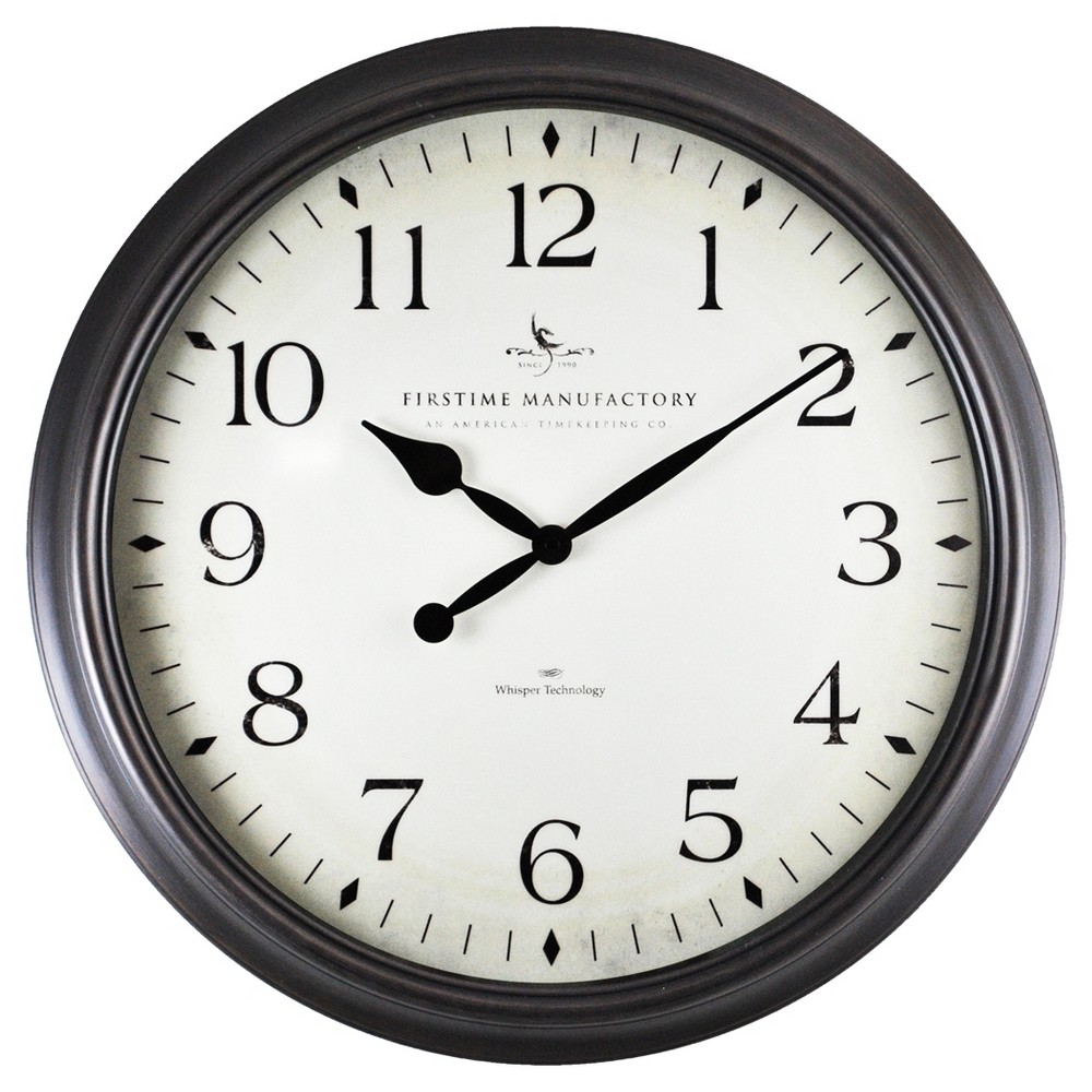 Image of Avery Whisper 20 Round Wall Clock Oil Rubbed Bronze - FirsTime