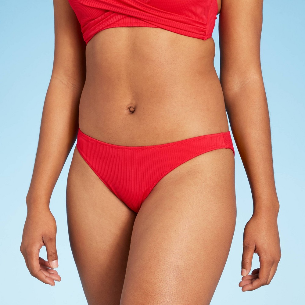 Women 39 S Ribbed High Leg Extra Cheeky Bikini Bottom Shade 38 Shore 8482 Red S