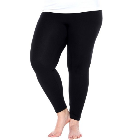 Women's One Size Fits Most Plus Size Super-Stretch Solid Leggings - One Size Fits Most Plus - White Mark - image 1 of 3
