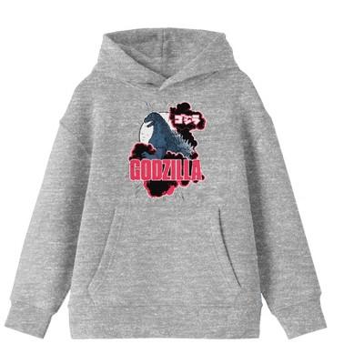 Godzilla Classic Art and Logo Youth Athletic Gray Hoodie