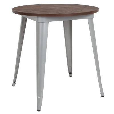 """Flash Furniture 30"""" Round Metal Indoor Table with Rustic Wood Top"""