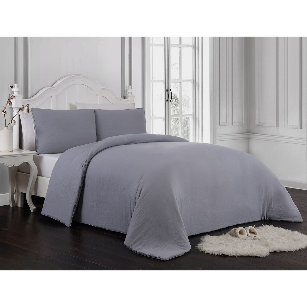 Image of 3pc Queen Gweneth Super Soft Comforter Set Gray - Geneva Home Fashion