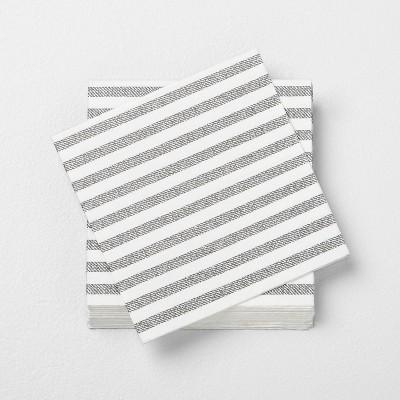 14ct Gray Stripe Disposable Beverage Napkin - Hearth & Hand™ with Magnolia