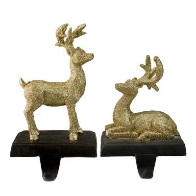 "Northlight Set of 2 Gold Reindeer Glittered Christmas Stocking Holders 8.5"""