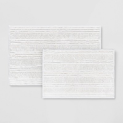 2pk Chenille Bath Rug White - Room Essentials™