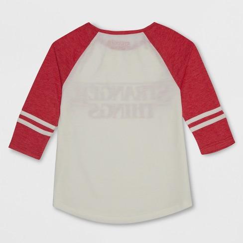 Girls Stranger Things 34 Sleeve Raglan T Shirt Ivory Target