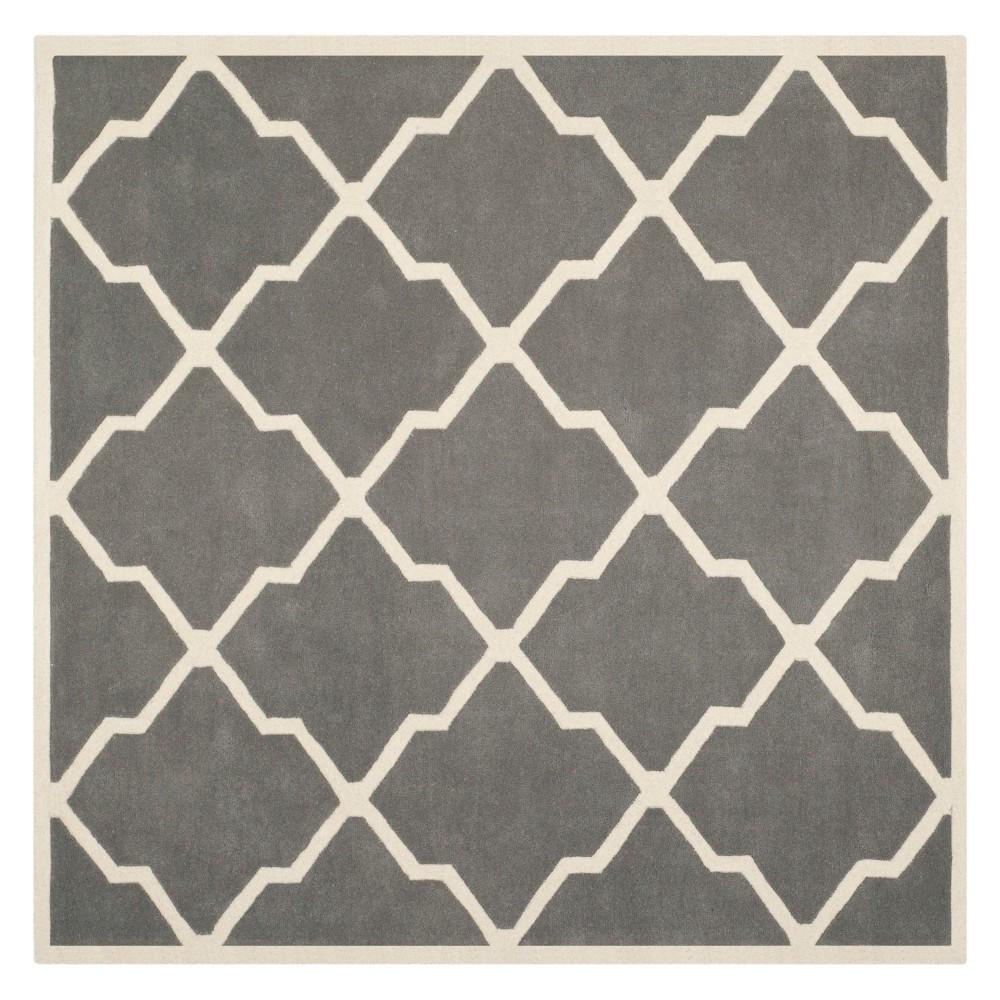 5'X5' Quatrefoil Design Tufted Square Area Rug Dark Gray/Ivory - Safavieh