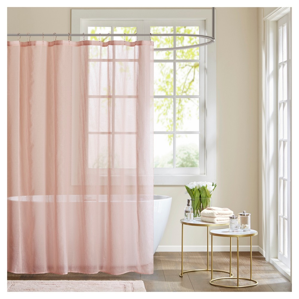 Image of Angie Sheer Shower Curtain - Pink