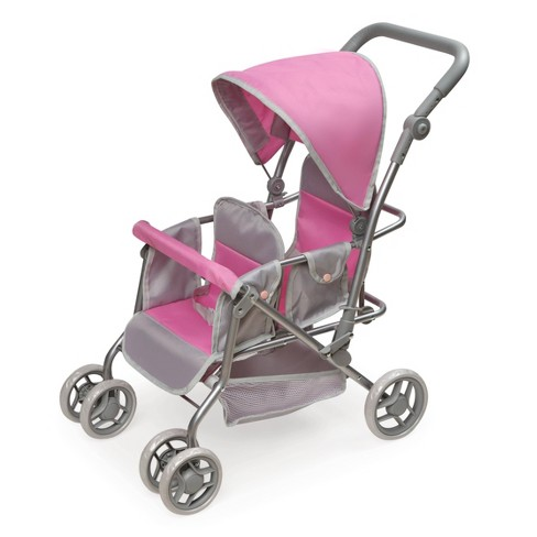 Cruise Folding Inline Double Doll Stroller - Gray/Pink - image 1 of 4