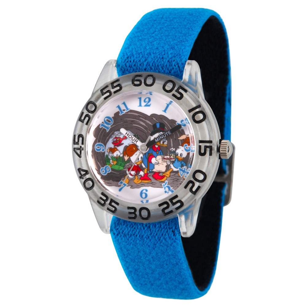 Boys' Disney Duck Tales Scrooge Mc Duck, Dewey, Huey, Louie, Launchpad McQuack Clear Plastic Watch - Blue, Purple