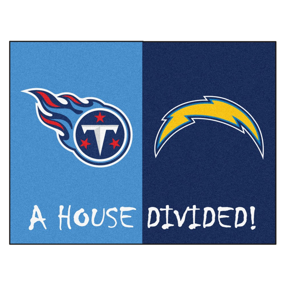 NFL Tennessee Titans/Los Angeles Chargers House Divided Rug 33.75