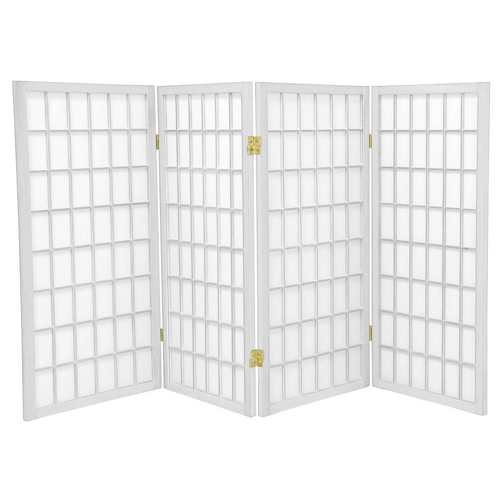 Image of 3 ft. Tall Window Pane Shoji Screen - White (4 Panels) - Oriental Furniture