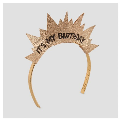 Girls  Happy Birthday Crown Headband - Cat   Jack™ Gold One Size   Target 522cb227059