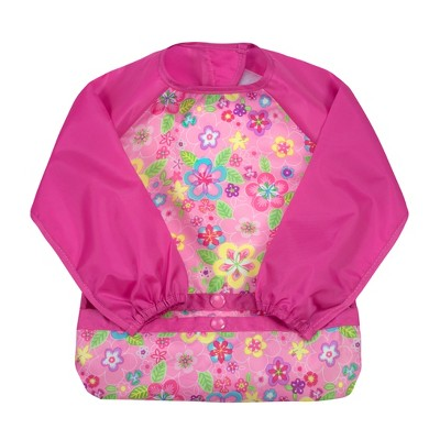 green sprouts Snap & Go Easy-wear Long Sleeve Bib Pink Flower