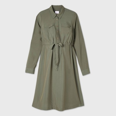 Long Sleeve Woven Maternity Shirtdress - Isabel Maternity by Ingrid & Isabel™ Olive Green