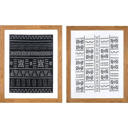 "Set of 2 24""x30"" Framed Black & White Geo Fabric Decorative Wall Art - Threshold™ - image 1 of 4"