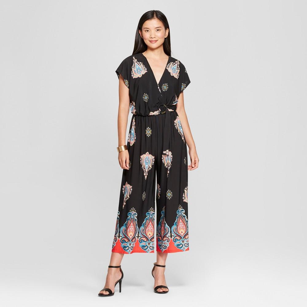 Women's Printed Ring Jumpsuit - Lux II - Black L