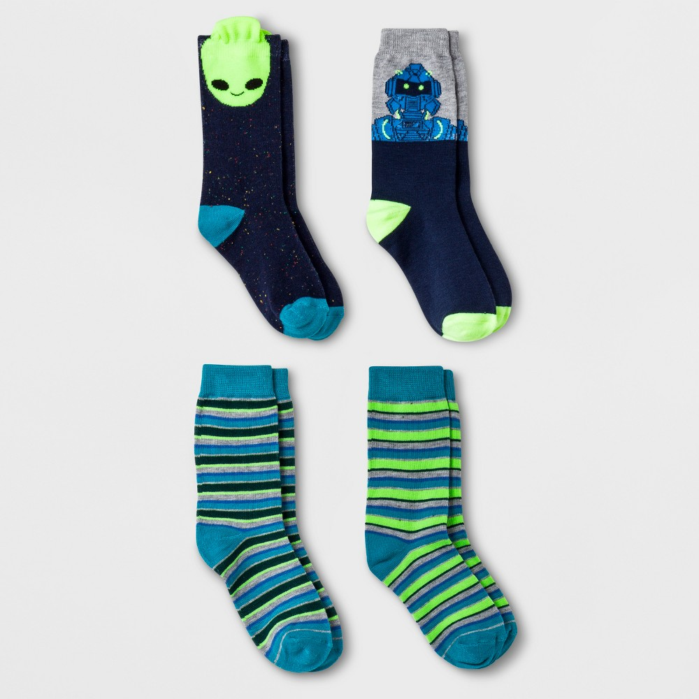 Boys' 4pk Space Hero Crew Socks - Cat & Jack L, Multicolored