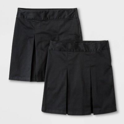 Girls' 2pk Stretch Uniform Pleated Twill Skorts - Cat & Jack™ Black