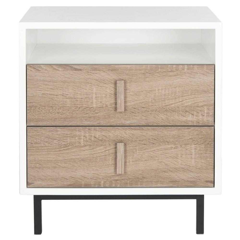 Kefton Storage Cabinet White/Oak/Black (White/Brown/Black) - Safavieh