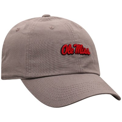 NCAA Ole Miss Rebels Men's Gray Garment Washed Canvas Hat
