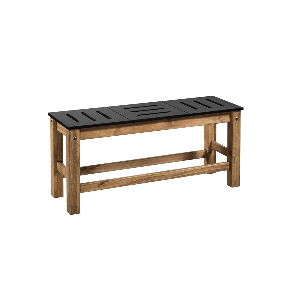 37.8 Set of 2 Mid Century Modern Stillwell Natural Wood Bench Black - Manhattan Comfort