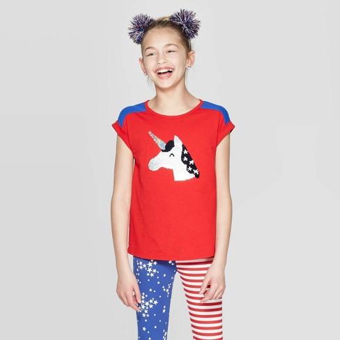 6662a6b48 Girls  Short Sleeve Americana Flip Sequin Unicorn T-Shirt - Cat   Jack™ Red    Target