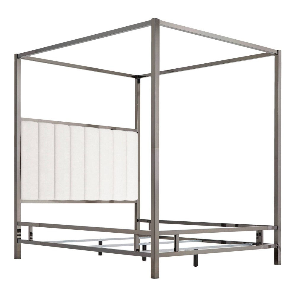 Full Manhattan Black Nickel Canopy Bed with Vertical Channel Headboard White - Inspire Q