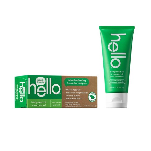 hello Extra Freshening Natural Spearmint Hemp Seed Oil + Coconut Oil Fluoride Free Toothpaste - 4oz - image 1 of 4