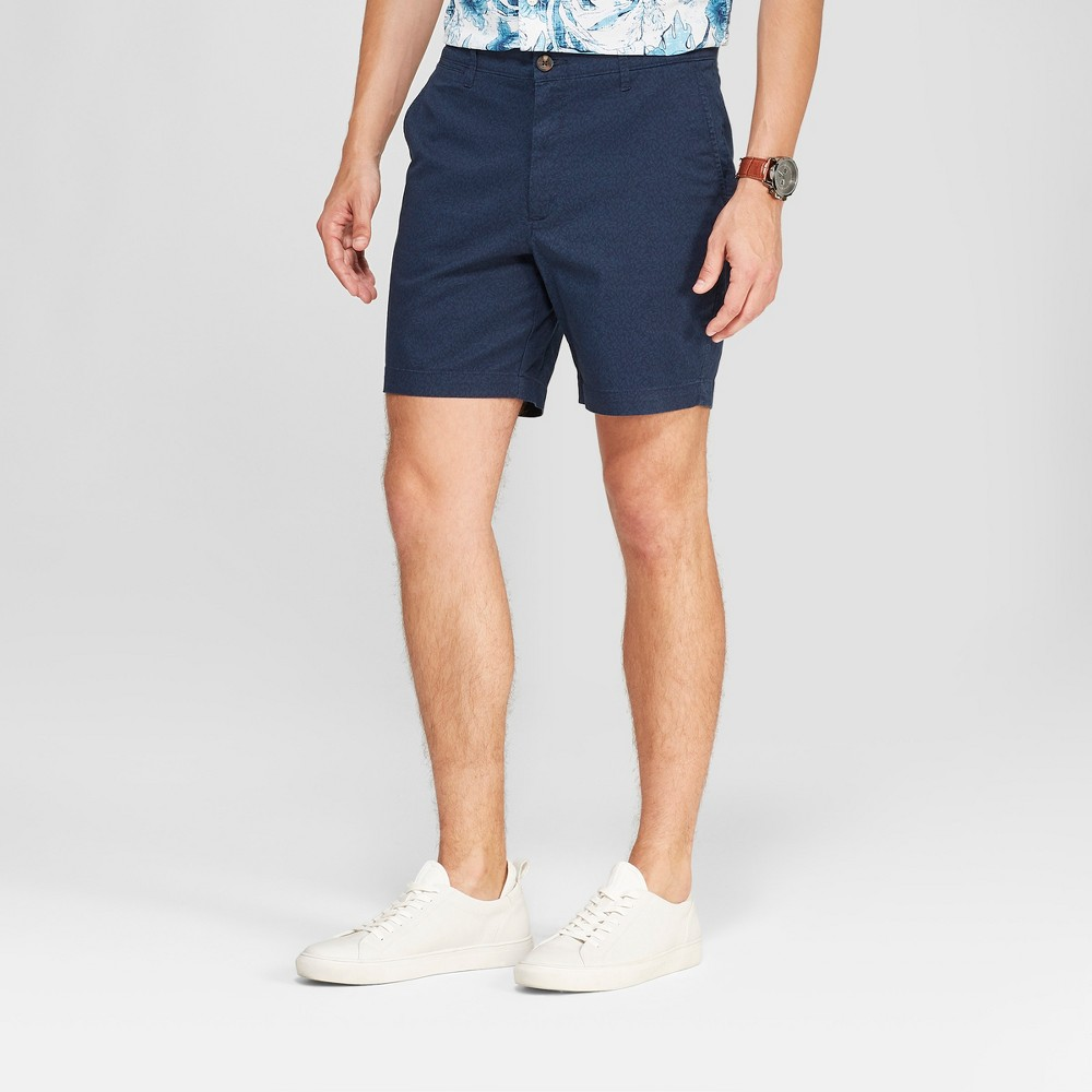 Men's 7 Linden Flat Front Chino Shorts - Goodfellow & Co Xavier Navy 32, Xavier Blue was $19.99 now $13.99 (30.0% off)