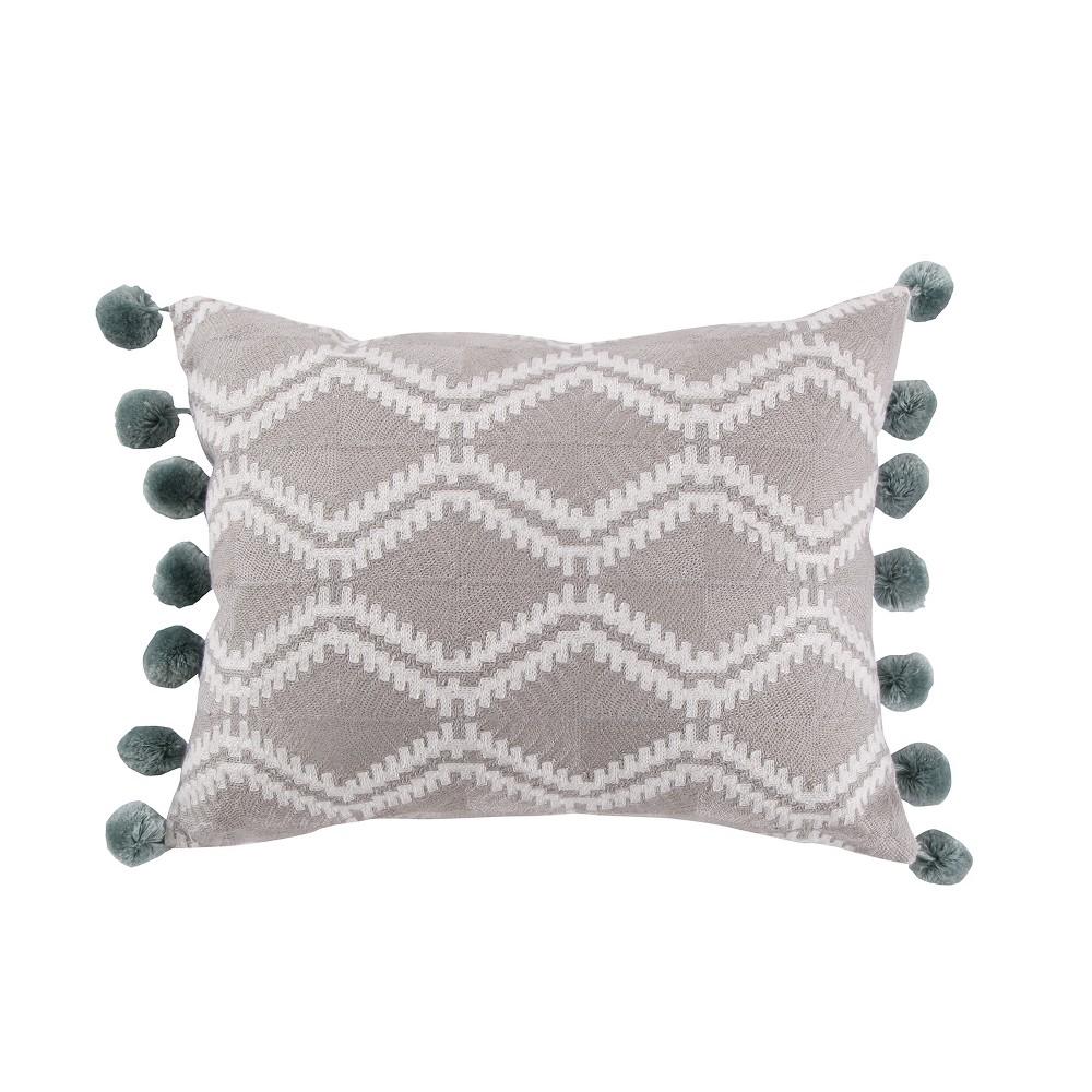 Image of 14x18 Shealeen Geo Large Pom Pillow Gray - Mudhut